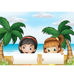Young women at the beach with empty signages vector image vector image