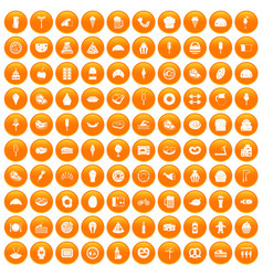 100 calories icons set orange vector