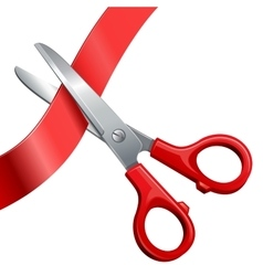 Scissors cut off the ribbon vector