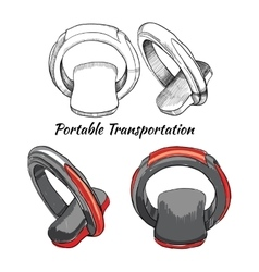 Hand drawn set portable transportation one - vector