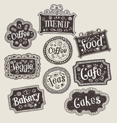 set of doodle labels vector image