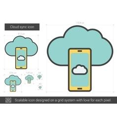Cloud sync line icon vector image