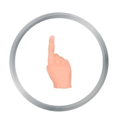 Raised index finger icon in cartoon style isolated vector