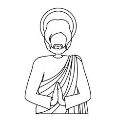 Silhouette half body picture saint joseph praying vector