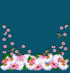 Frame from flowers greeting card vector