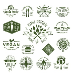 15 vegetarian foods badges vector