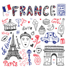 Hand drawn doodles set of france - eiffel tower vector