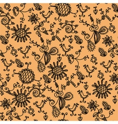 Seamless ornate orange floral pattern vector