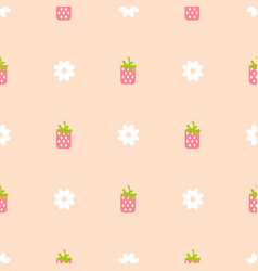 Strawberry pink and peach color seamless pattern vector