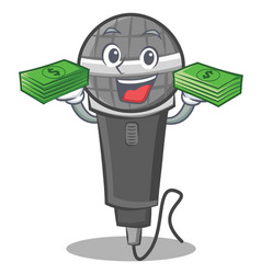 With money microphone cartoon character design vector