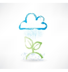 Brush icon with image of rainy cloud and green vector