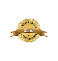2nd anniversary gold logo vector