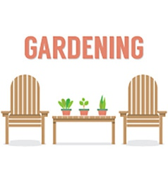 Wooden garden chairs and pot plant on table vector