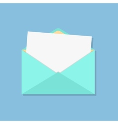 Open envelope with white sheet vector