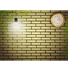 vintage clock at brick wall in the night vector image
