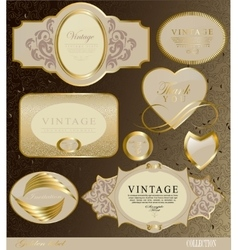 retro vintage set of white gold label vector image