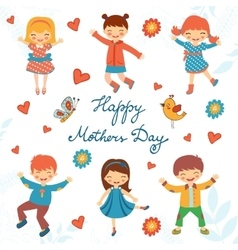 Happy mothers day card with happy kids jumping vector