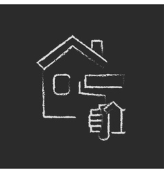 House painting icon drawn in chalk vector