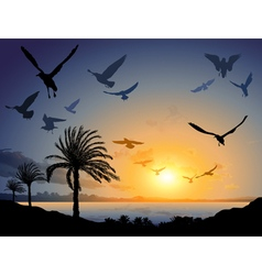 Tropical sea landscape with flock of flying bird vector