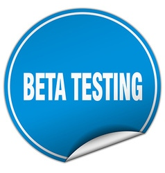 Beta testing round blue sticker isolated on white vector