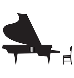 Silhouette of a grand piano vector