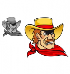 angry cowboy vector image vector image