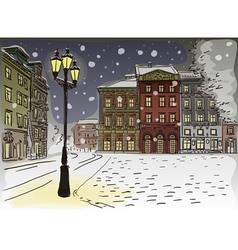 Antique European street Winter Night city landscap vector image