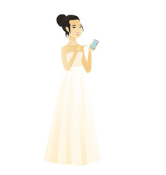 Asian fiancee holding a mobile phone vector