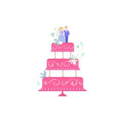 big wedding cake flat vector image vector image