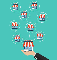 businessman hand with franchise business system vector image vector image