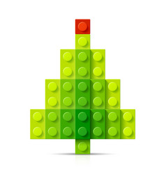 christmas tree made of plastic blocks vector image