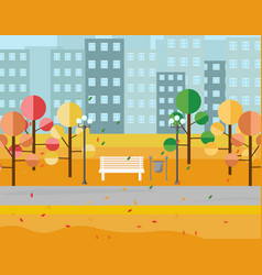 city park view autumn seasons background vector image vector image