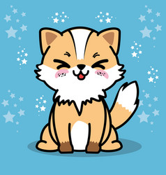 Cute and lovely fox cartoon vector