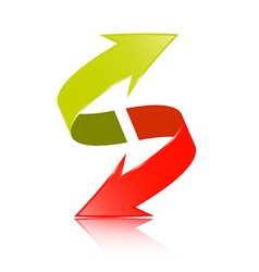 Double Arrow 3D Green and Red Symbol vector image