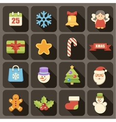Flat Christmas icons set vector image