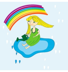 girl sky and rainbow vector image