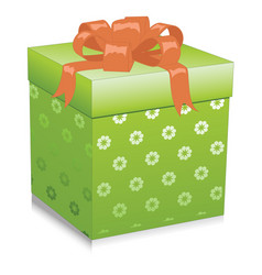 green gift box isolated on white background vector image vector image