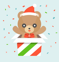 happy cute teddy bear wears santa hat vector image