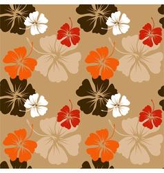 hibiscus pattern in beige vector image