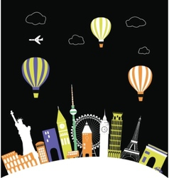 Hot air balloons over the world vector