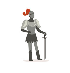 knight full body armor suit standing with sword vector image