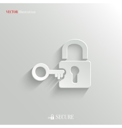 Lock icon - white app button vector image
