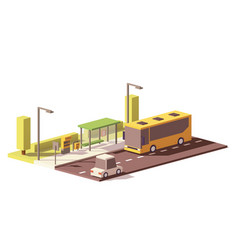 Low poly bus and the bus stop vector