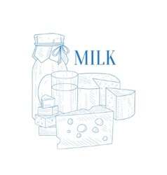 Milk and cheese hand drawn realistic sketch vector