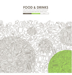 Restaurant doodle website template design vector