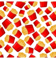 Seamless takeaway boxes of french fries pattern vector