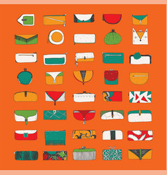 Set with bright purses and clutches on vector