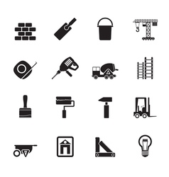Silhouette Construction and Building icons vector image vector image