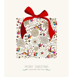 Vintage Christmas gift greeting card vector image
