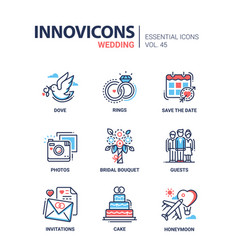 wedding - modern line design icons set vector image